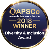 Award badge saying OAPSCp 2018 winner, diversity and inclusion award